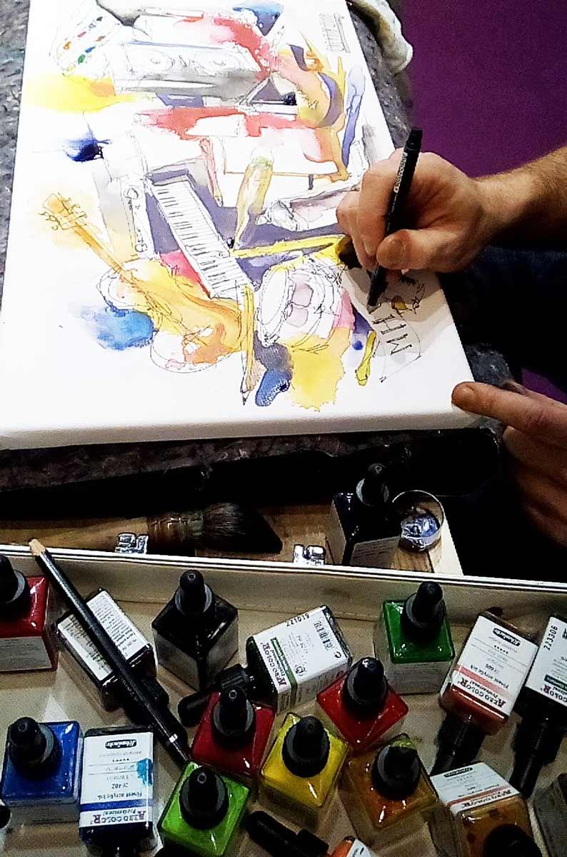Gris malt mit Aquadrops und Stiften auf ForMarkers