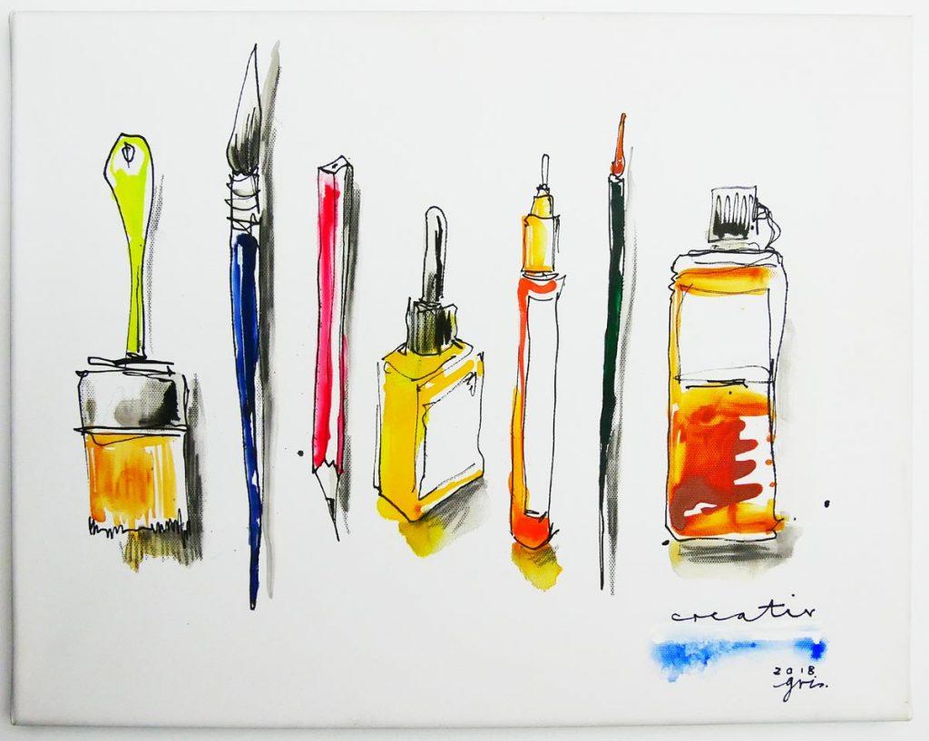 Künstler Gris malt Pinsel und Farben, die man für For Markers nutzen kann